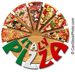 découpage, italie, planche, pizza