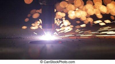 découpage, métal, industriel, plasma, plaque, cnc