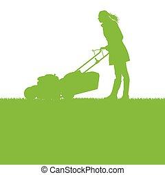 découpage, pelouse, femme, herbe, déménageur