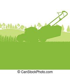 découpage, pelouse, vecteur, herbe, déménageur
