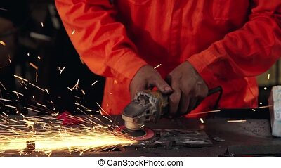 découpage, professionnel, mécanicien, acier, metal.