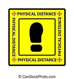 découpage, vecteur, ou, distance, transmission, simple, avertissement, physique, autocollant, social, covid-19, prévention, virus, pandémie, carrée