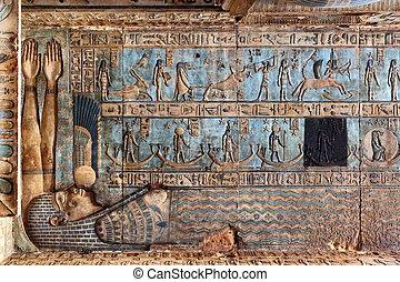 découpages, ancien, hiéroglyphique, temple, égyptien