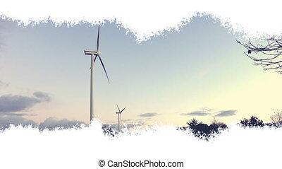 découvert, trace, turbines, vent