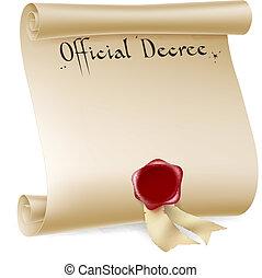 décret, officiel, rouleau, rouges, cire