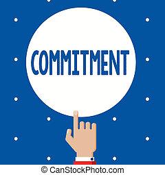 dédié, concept, être, texte, engagement, commitment., signification, activité, écriture, qualité, cause
