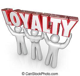 dédié, mot, gens, loyauté, ensemble, levage, équipe, dévouement