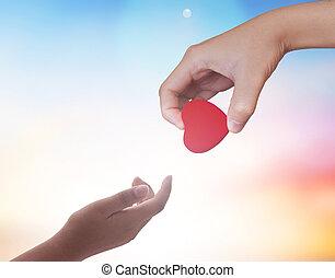 dédicace, cœurs, concept:, rouges
