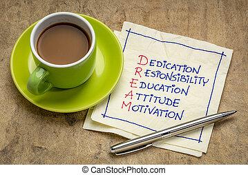 dédicace, concept, education, responsabilité