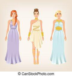 déesse, femelles, grec, vecteur, joli, appelé, robes