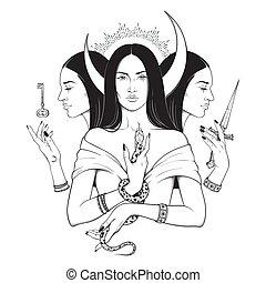 déesse grecque, ancien, hecate, mythologie