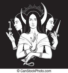 déesse, hecate, grec, ancien, mythologie