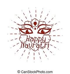 déesse, indien, style, navratri, célébration, puissance, icône, silhouette, durga, heureux