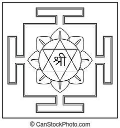 déesse, lakshmi., yantra