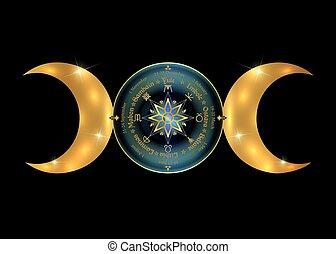 déesse, lune, païen, année, symbole, wicca, compas, ...