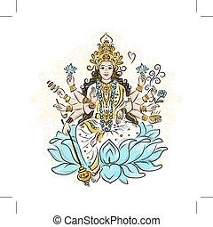 déesse, shakti, croquis, indien, conception, ton