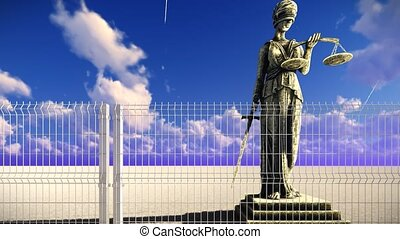 déesse, télégraphier clôture, justice, grec, derrière, droit & loi