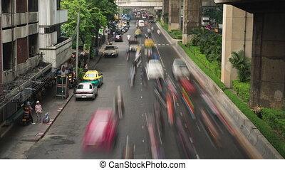 défaillance, bangkok, confiture, trafic, temps, vidéo
