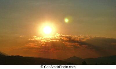 défaillance, coucher soleil, 4k, or, temps