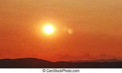 défaillance, coucher soleil, temps