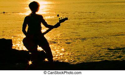 défaillance, guitar., jouant temps