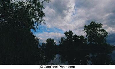défaillance, il, temps, au-dessus, nuages, bleu sombre, ...
