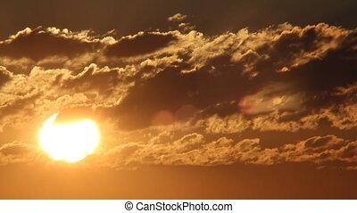 défaillance, levers de soleil, fond, temps