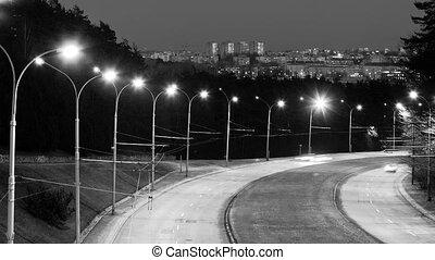 défaillance, lithuania., haut-angle, autoroute, trafic, temps, nuit, bridge., vilnius, vue