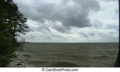 défaillance, rivière, nuages, temps, &