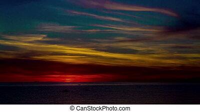 défaillance, sur, coucher soleil, sea., temps
