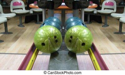 défaillance temps, balles, reflété, vue, bowling, sommet, image