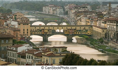 défaillance, temps, florence, pont, vecchio, ponte, italie