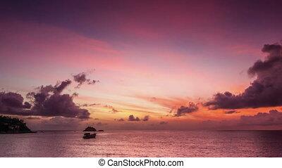 défaillance, temps, levers de soleil, mer, baie