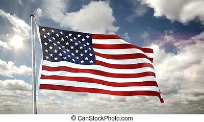 défaillance temps, nuages, drapeau etats-unis, poteau