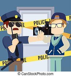 défendre, police, journaliste, entrer