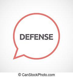 défense, balloon, isolé, comique, texte
