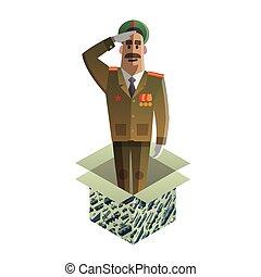 défenseurs, isométrique, fatherland., cadeau, jour