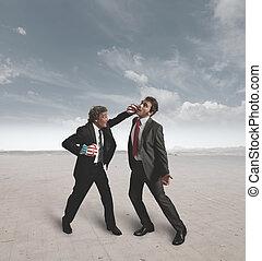 défi, boxe, hommes affaires