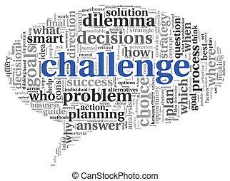 défi, concept, mot, nuage, étiquette
