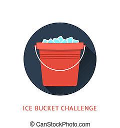 défi, concept, seau, als, glace