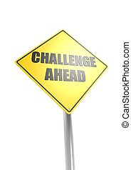 défi, devant, signe