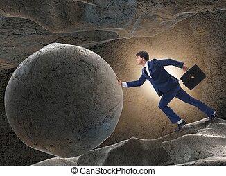 défi, difficile, concept, homme affaires