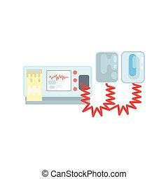défibrillateur, illustration médicale, équipement, vecteur, aed, automatisé, externe