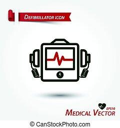 défibrillateur, vecteur, monde médical, icône