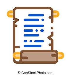 défilement papier, vecteur, illustration, icône, contour, parchemin