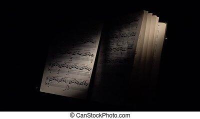 défilements, feuille, notes, lumière, musique, noir, vent, rayon
