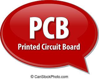 définition, acronyme, illustration, parole, pcb, bulle