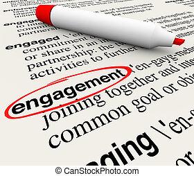 définition, dictionnaire, engagement, audience, entouré, employé, mot