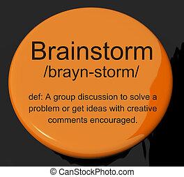 définition, discussion, idée génie, recherche, bouton, pensées, spectacles