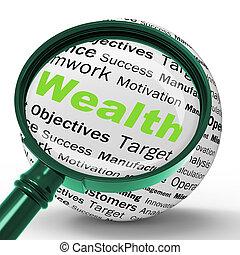 définition, fortune, richesse, trésor, comptabilité, loupe, ou, spectacles